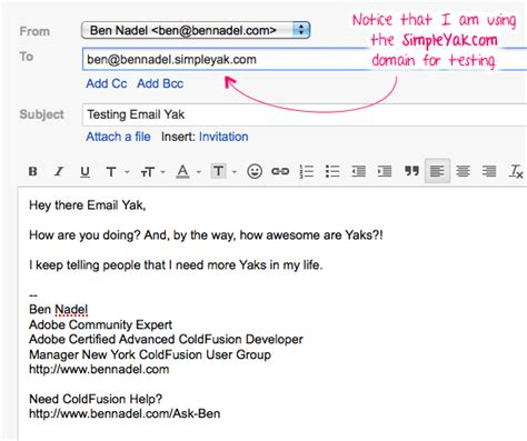 email ending using email yak to provide bidirectional email