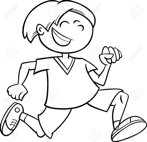 kid clipart black and white boy running clipart black and white clipground
