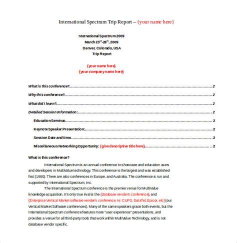 trip report sample trip report template