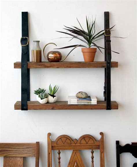 do it yourself recycled leather wood shelf