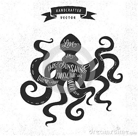 hipster tattoo logo inspiration quote vintage design label octopus stock