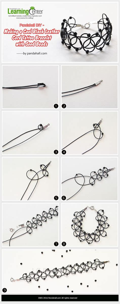 how to make a tattoo choker a cool black leather cord bracelet with seed