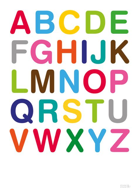 printable fonts for posters multi colour alphabet art print from showlerandshowler com