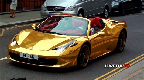 golden ferrari enzo chrome gold ferrari 458 spider cruising through london