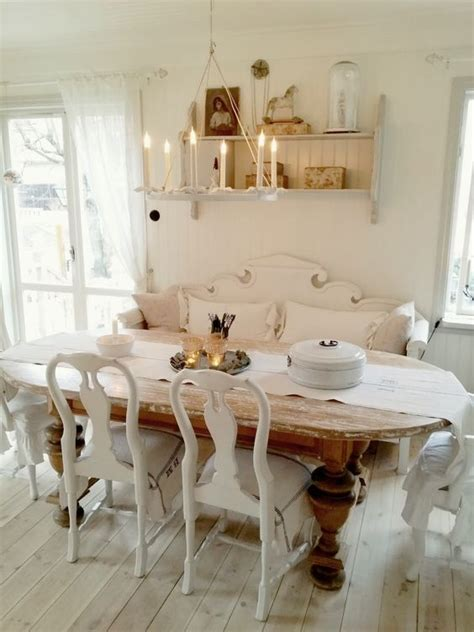ways  create  shabby chic dining room  area shelterness
