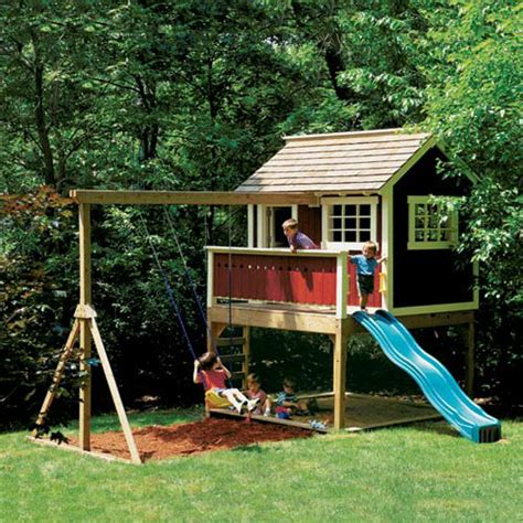 backyard slide plans kids outdoor wooden playhouse swing set detailed plan