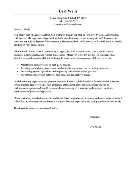 legacy systems administrator cover letter examples it