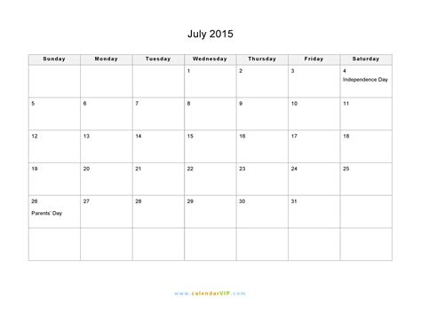 printable weekly calendar july 2015 july 2015 calendar blank printable calendar template in