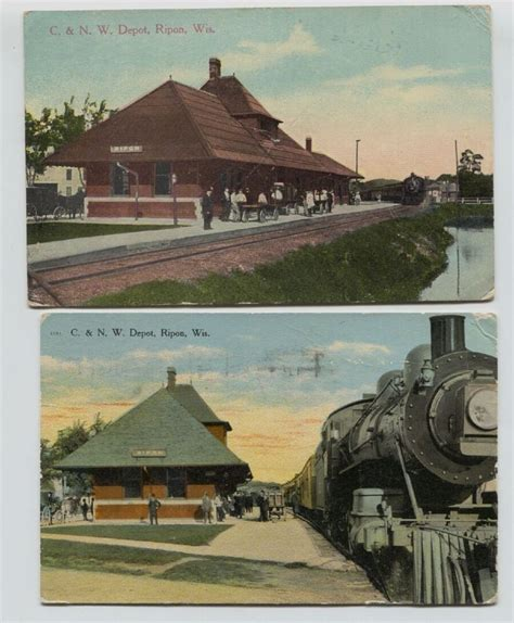 2 1910 era chicago northwestern railroad depot ripon