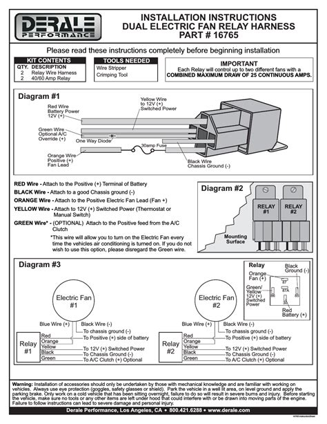 derale fan controller wiring diagram lights wiring diagram