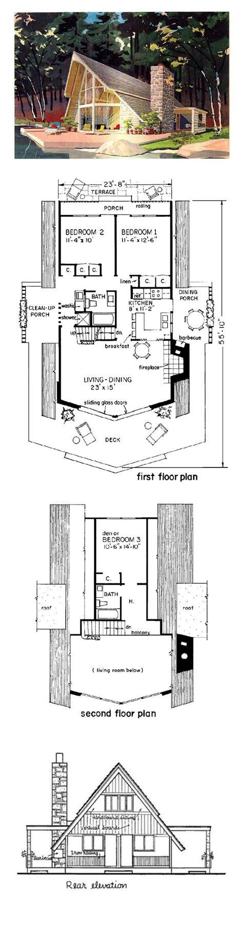 A Frame Cottage Floor Plans by A Frame Cabin Contemporary House Plan 43048