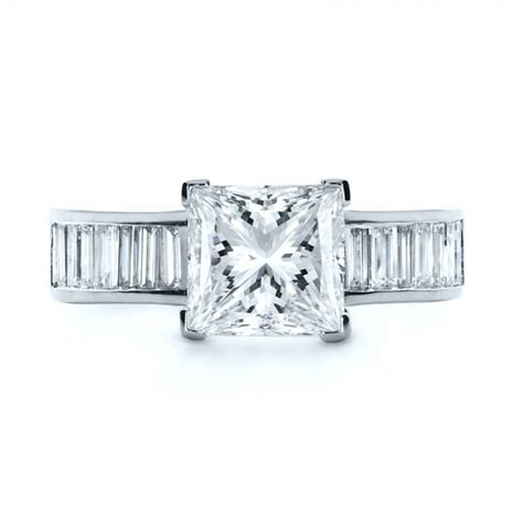 custom princess cut and baguette engagement ring 1131
