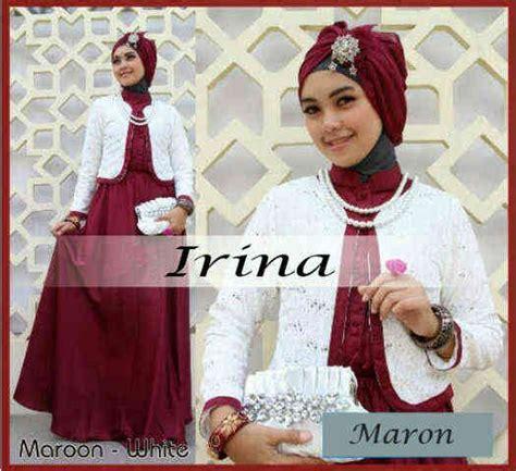 Gamis Satin Blazer Ballerina Set Busui baju muslim pesta irina p666 maroon gamis brukat