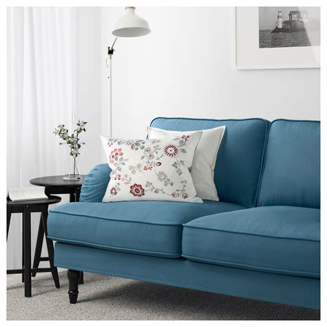 ikea blue sofa stocksund three seat sofa tallmyra blue black wood ikea