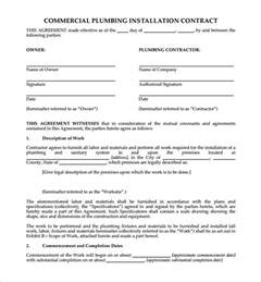 Installation Contract Template by 5 Plumbing Contract Templates Free Word Pdf Format