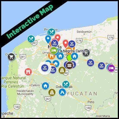 yucatan peninsula map merida mexico map interactive