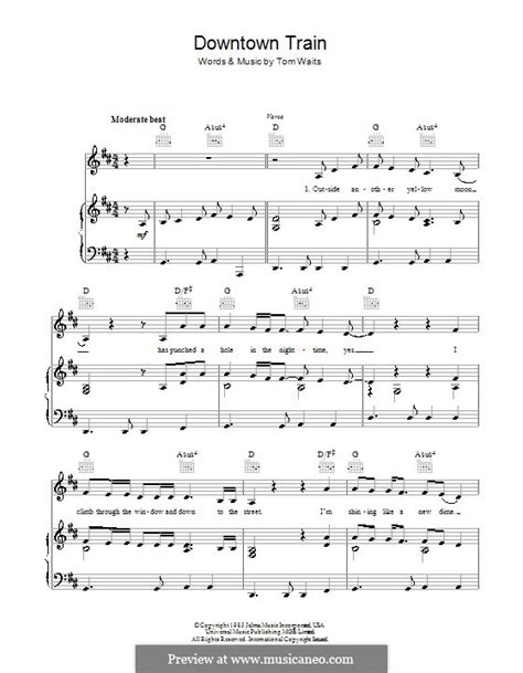 printable downtown lyrics downtown train by t waits sheet music on musicaneo