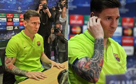 messi hand tattoo 2015 lionel messi s new tattoo star shows off ink in press