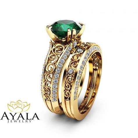 2 carat emerald engagement ring set unique 14k yellow gold
