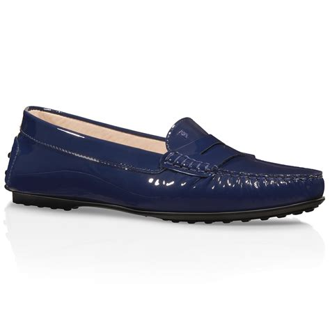 loafers in leather tod s city gommino loafers in patent leather in blue lyst