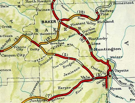 map of oregon ontario oregon of state ontario to baker