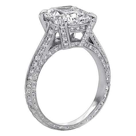 engagement ring vintage style cushion cathedral