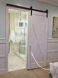 Interior Barn Doors For Homes Awesome White Polished Single Wooden Sliding Bathroom Barn Doors For Homes Interior Added Modern