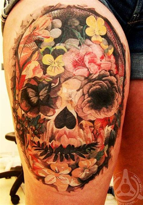 traditional mexican tattoos mexican traditional colored skull with flowers