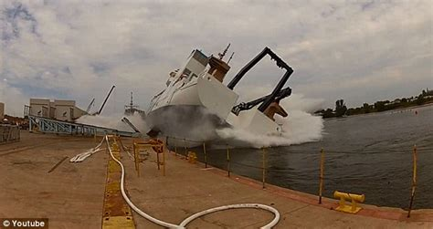 boat slip in spanish dramatic video captures ship launch going horribly wrong