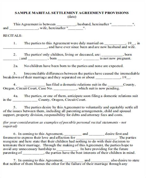 6 Divorce Agreement Sles Sle Templates Marital Settlement Agreement Template