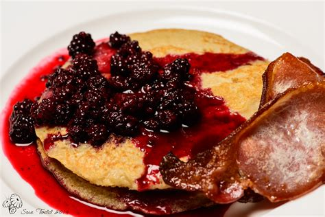 country kitchen pancake recipe pancakes blackberry compote and crispy bacon