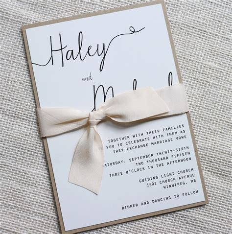 Simple Wedding Stationery by Modern Wedding Invitation Simple Wedding Invitation Rustic