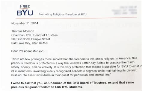 Acceptance Letter Lds Letter To The Byu Board Of Trustees Freebyu