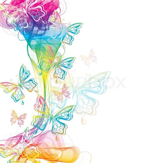 colorful abstract background with butterfly and wave stock