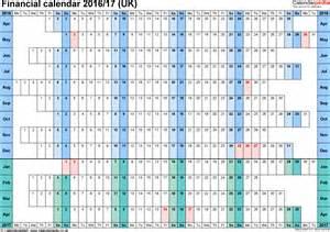 2016 Through 2017 Calendar Financial Calendars 2016 17 Uk In Microsoft Excel Format
