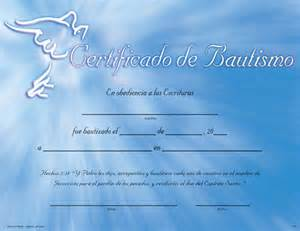 certificate of baptism certificates spanish