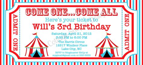 circus invitation template 6 best images of circus ticket template printable blank