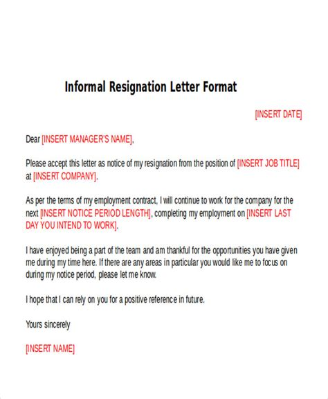 informal letter template uk 5 sle informal resignation letters sle templates
