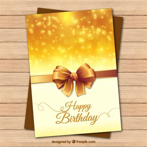 Golden Birthday Card Golden Birthday Card With A Realistic Bow Vector Free