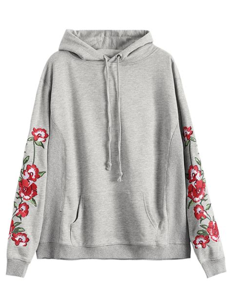 Embroidered Hoodie front pocket floral embroidered hoodie gray sweatshirts m