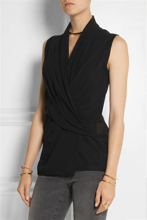 Silk Chiffon Top by Lyst Helmut Lang Wrap Effect Silk Chiffon Top In Black