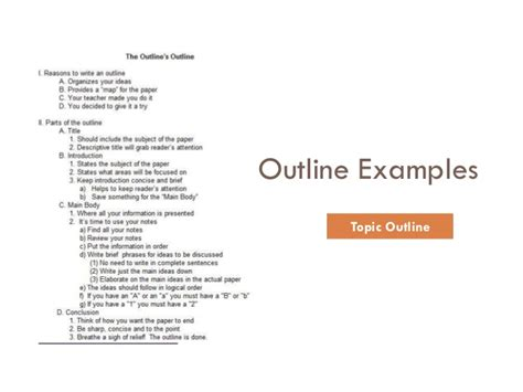 topical outline template an outline