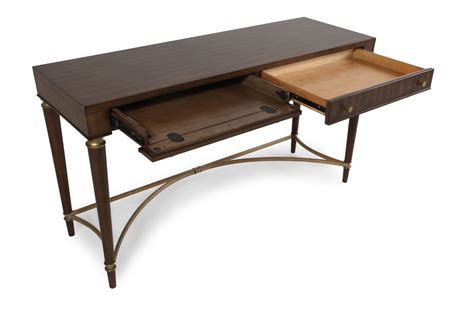Two Drawer Traditional Console Table In Brown Mathis Traditional Sofa Tables