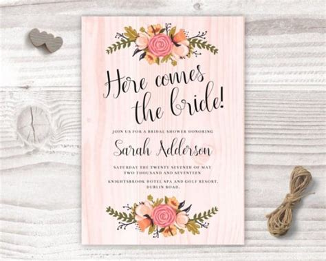 what comes in a wedding invitation here comes the bridal shower design bridal