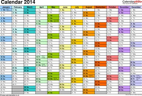Calendar 2014 UK with bank holidays & Excel/PDF/Word templates