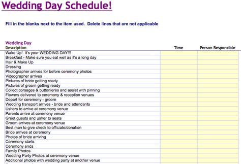 free wedding schedule template wedding day schedule template microsoft excel templates