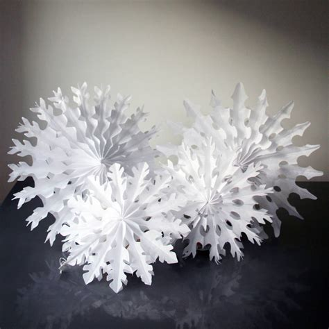 How To Make Tissue Paper Snowflakes - set of four paper tissue snow flakes by pearl and earl