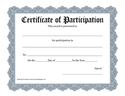 new certificate of participation templates certificate