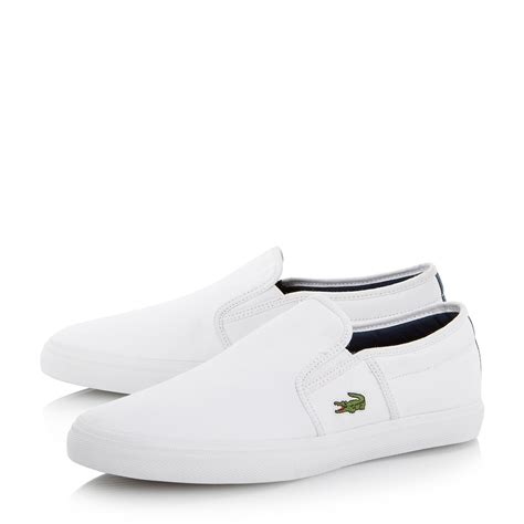 loafers for white lacoste gazon slip on casual loafers in white for lyst