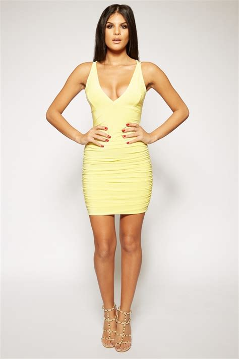 Dress A24397 Yellow M meghann yellow slinky bodycon dress miss g couture